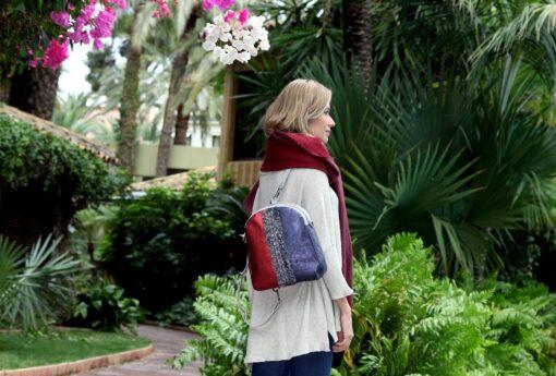 bolso mochila aleaspero eyre banda piel burdeos espalda