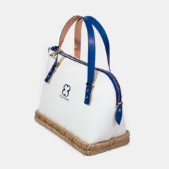 bolso blanco con base de yute